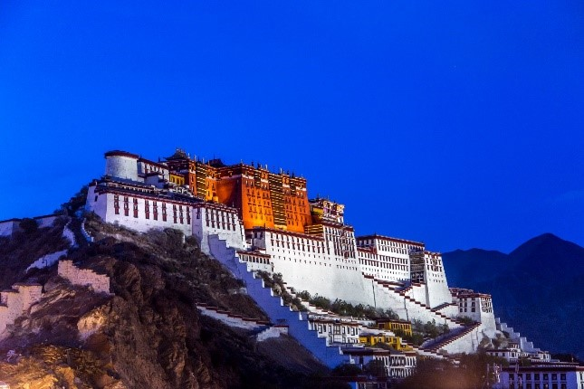 Potala Palace in Lhasa, Tibet, once the residence of the Dalai Lama.